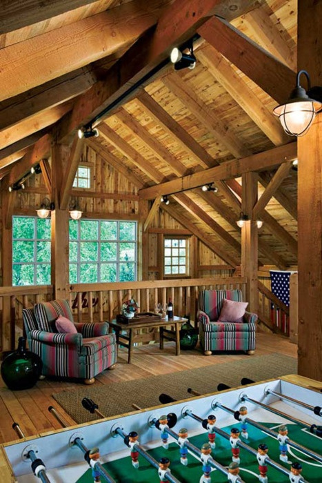 My husbands dream-only with a pool table. Love the loft, huge window.