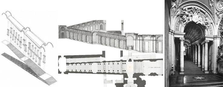Scala Regia, Vatican. Axonometrie, plan si elevatie.