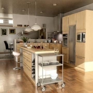 Realistic extremely detailed kitchen 3D Model-   Realistic extremely detailed kitchen scene with belongings. All materials and textures in the renders are includedEverything is carefully modelled to get a smooth and nice structure. The scene is very well organised and easy to change. All drawer and doors can be opened after liking.The scene includes:- oven microwave oven freezer seats tables lamps glasses bowls seasonings utensils kitchen fan fruits and vegetables plates bottles…