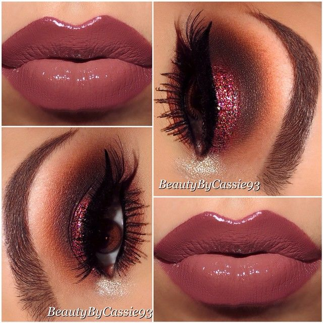 Plum Sparkle Eyes with a Mauve Lips