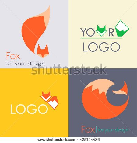Set red green fox logo with fluffy tail - vector illustration, icon element sign symbol - stock vector