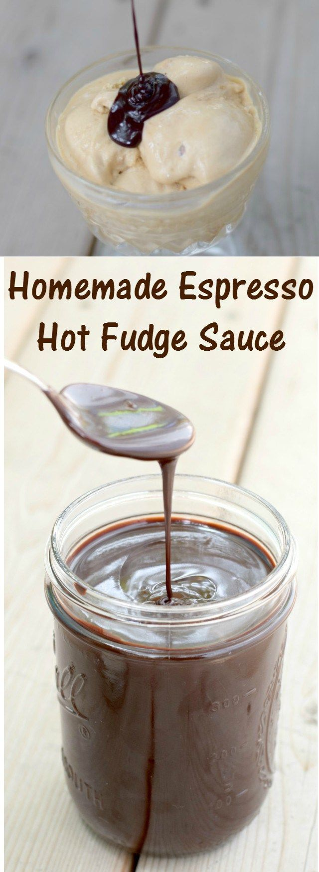 Delicious and easy recipe for a homemade espresso hot fudge sauce. An amazing dessert or ice cream topping, or just eat it from the jar for dessert. You can even mix it into your coffee. Ready in ten minutes! Yum!