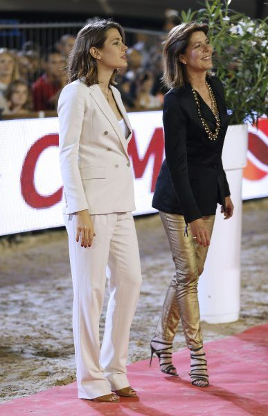 Charlotte Casiraghi in an ivory blazer + white tee + ivory trousers + tan heels