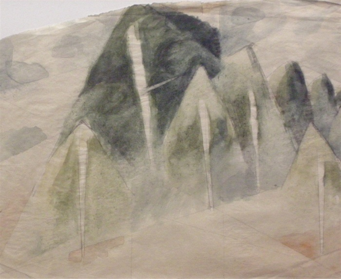 Godfrey Miller (Trees and hills) c. 1945 pencil and watercolour on paper