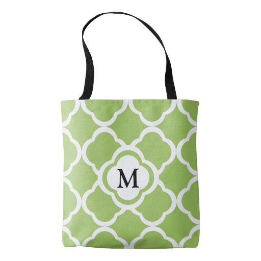 Monogram With Lime Green Quatrefoil Pattern Shopping Tote Bag