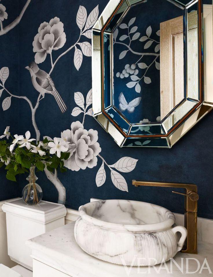 Sink, Michael S. Smith for Kallista; fittings, Dornbracht; vintage mirror, Bernd Goeckler Antiques; wallpaper, Fromental.