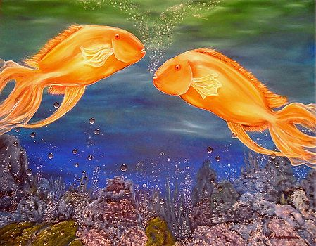 Fish, painting, underwater,world,scene,ocean,life,nature,sea,reefs,corals,bubbles,blue,orange,multicolor,colorful,beautiful,images,contemporary,modern,wall,art,awesome,cool,artwork,for,sale,home,office,decor,oil,deep,water,goldfish,items,ideas, fine art america