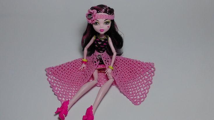 Юбка для куклы Монстр Хай. Как вязать крючком юбку для куклы.Вязание для...