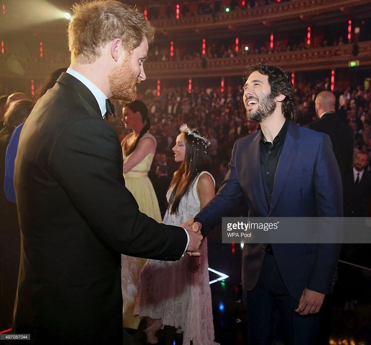 Britain's Prince Harry greets singer Josh Groban after the Royal Variety Performance at the Albert Hall on November 13, 2015 in London, England.