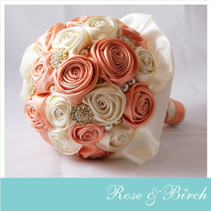 Large Bridal Bouquet in Peach & Ivory, gold bling and pearls www.roseandbirch.com www.facebook.com/roseandbirch Handmade bridal/wedding bouquets bouquet