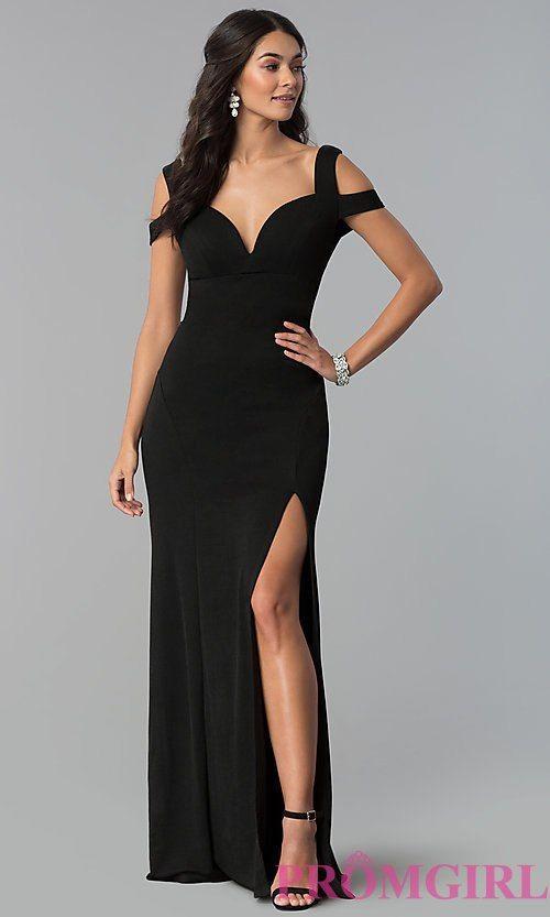 883c26c5e9e Image of long cold-shoulder side-slit black prom dress. Style   EM-COA-1606-001 Front Image