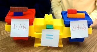 Commutative Property of Addition - I use this with my kinders to demonstrate adding to 10 and equal values.  Recommended by Charlotte's Clips