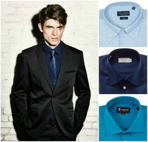 Royal blue dress shirt black suit