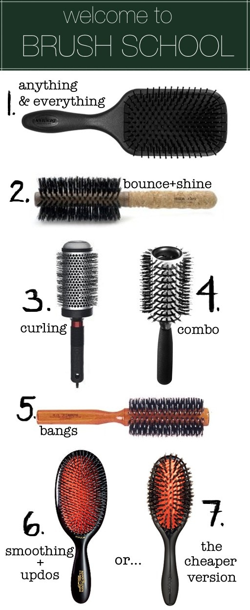 #1 The Denman Paddle Brush. You can detangle with it, blow dry with it, massage your head with it, and tease hair with it. It doesnt pull or scratch because of its perfectly rounded nylon pin-bristles, it doesnt cause static, and is padded with an air cushion. On a daily basis, I use it to blow my hair out quickly before I curl it with a curling iron.