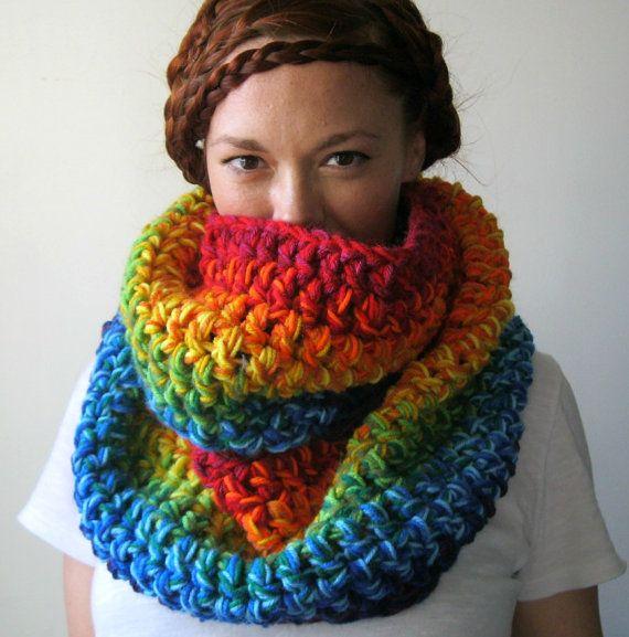 : Rainbows Scarfs, Infinity Scarfs, Chunky Infinity, Double Rainbows, Colors Chunky, Rainbows Circles, Infinity Cowls, Circles Scarfs, Crochet Cowls