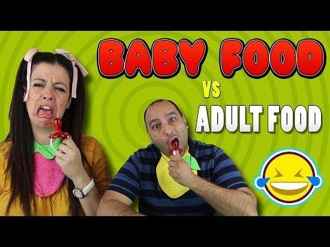 (722) BABY FOOD vs ADULT FOOD!!! Comida de bebe vs comida de adulto!!! - YouTube