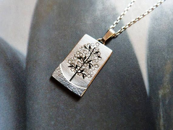 Tree necklace Sterling silver pendant metalwork jewelry
