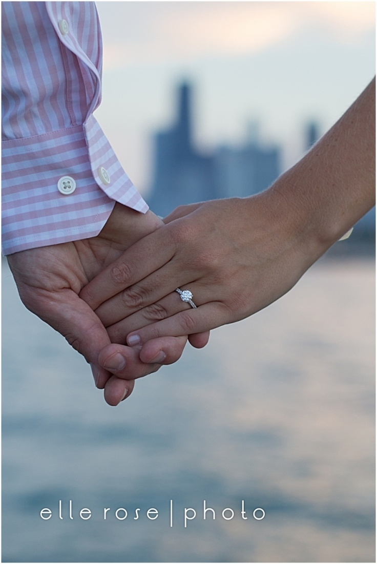 chicago skyline | engagement ring detail. Perfect! My kind of engagement pictures!