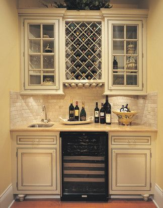 Canyon Creek   Falmouth Inset In Maple  Painted Creme Brule, Traditional Wine Cellar, Seattle