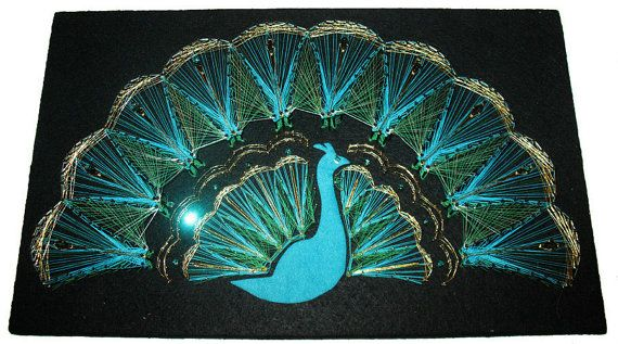 Peacock string art picture wall hanging vintage picture for Fish string art