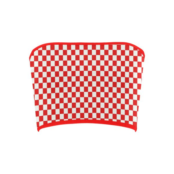 Bright Red Gingham Bandeau Top (£13) ❤ liked on Polyvore featuring tops, crop, crop top, shirts, strapless, bandeau bikini tops, red shirt, red strapless top, bandeau crop top and red bandeau top