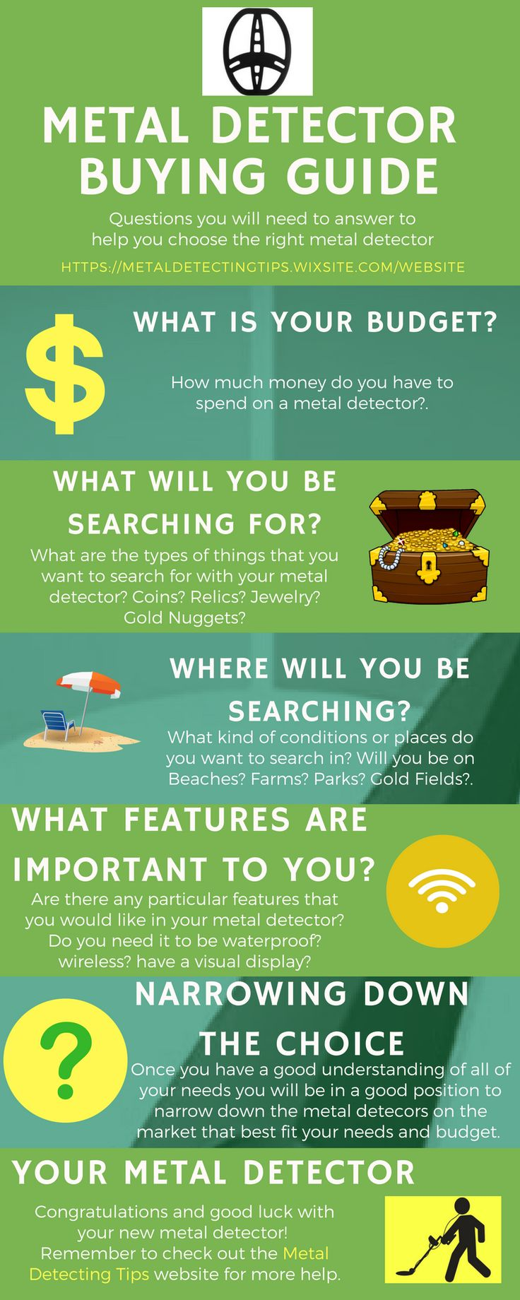 Metal Detector Buying Guide We have put this very simple Metal Detector buying guide together to help you learn about metal detectors.