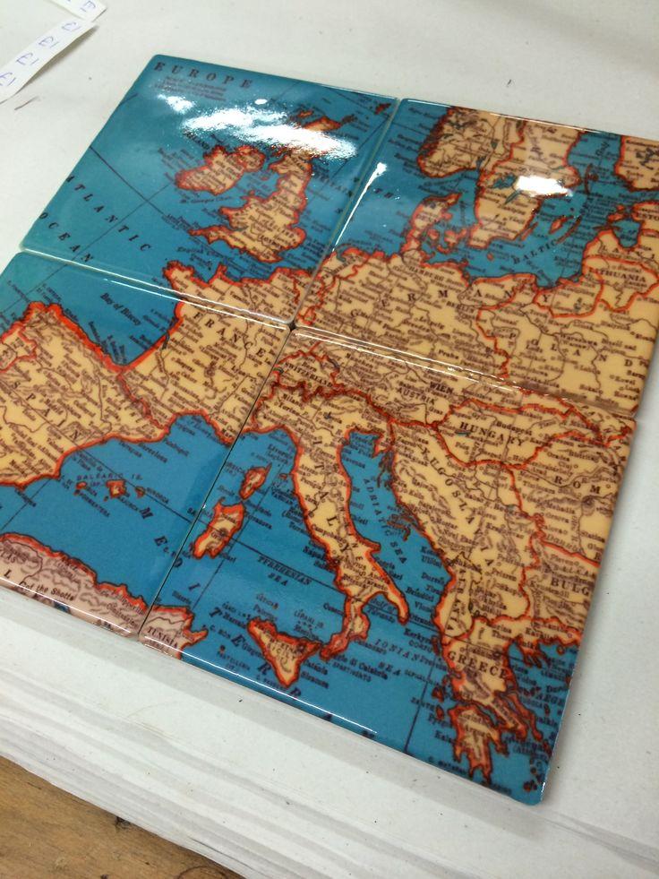 Ceramic map tile coasters