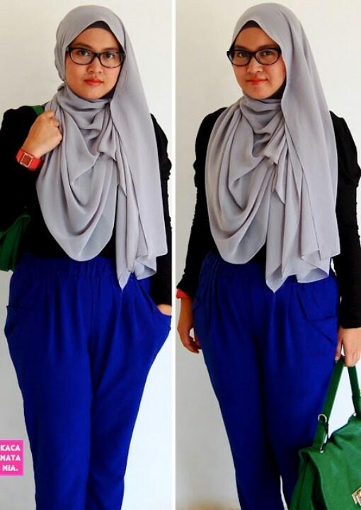 Electric blue pants and hijab kacamatamia.blogspot.com