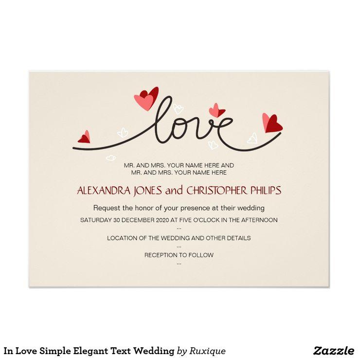 "In Love Simple Elegant Text Wedding 4.5"" X 6.25"" Invitation Card"