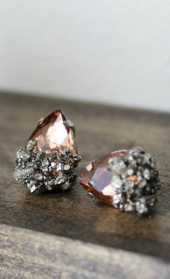 Pyrite earrings - champagne teardrop earrings