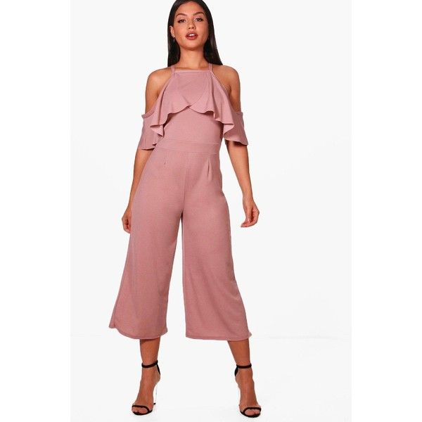 518ce344e60 Boohoo Hanna Open Shoulder Frill Detail Culotte Jumpsuit (71 SAR) ❤ liked  on Polyvore featuring jumpsuits