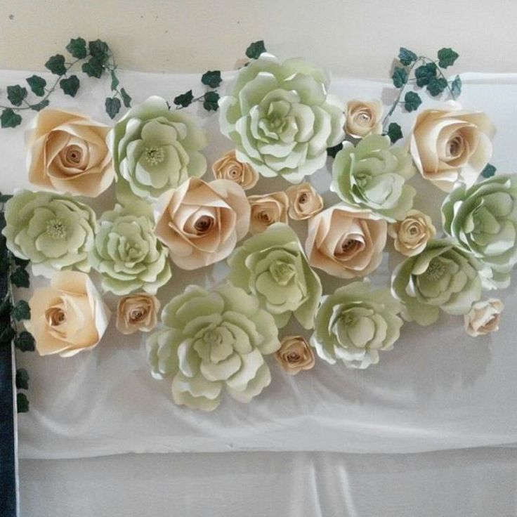 Green and Ivory paper flower combination. Beautifully fit your happiness corner... Paper Flower for Backdrop. For further information please…