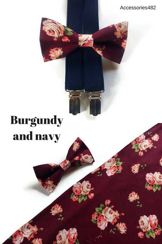 Navy and Burgundy Floral Bow