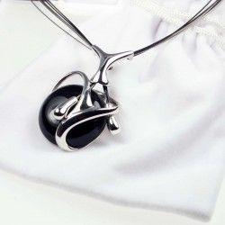 Contemporary Onyx Rhodium Plated Sterling Silver Pendant #Gemstone #Jewellery