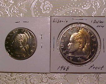 Two Proof Crowns  1968 Liberia Dollar and Half Dollar Coins, only 14396 minted for both.  FREE shipping in the United States.