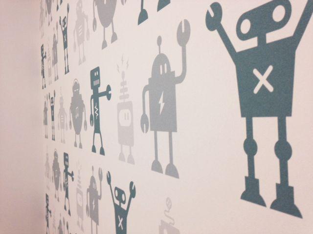 Boy's nursery, boy's bedroom, nursery, robot wallpaper, children's bedroom, Custom made wallpaper by Mustard Solutions Ltd www.mustardsolutions.co.uk