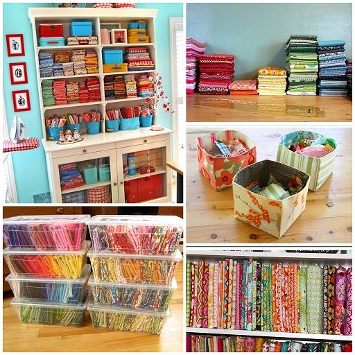 how to organize fabric scraps - hard to pick a favorite, but I am going to dig my scraps out of the cabinet and put one of these in place - then I'll have that lovely big cabinet for something else!