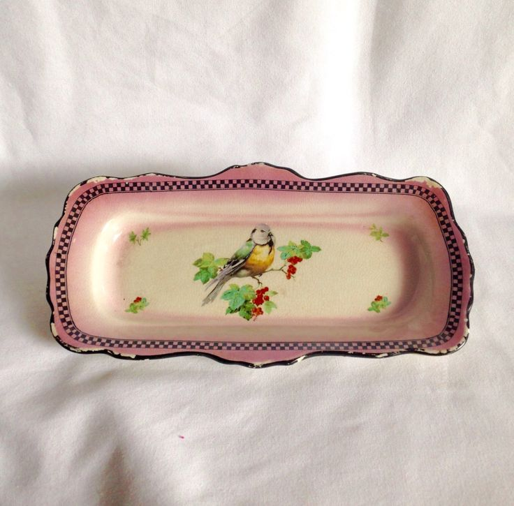 Vintage H u0026 K Tungstall Made in England Serving Plate Oblong Dish Shabby Chic Tray Pretty vintage floral bone china sandwich & 12 best vintage cake stands and serving plates images on Pinterest ...