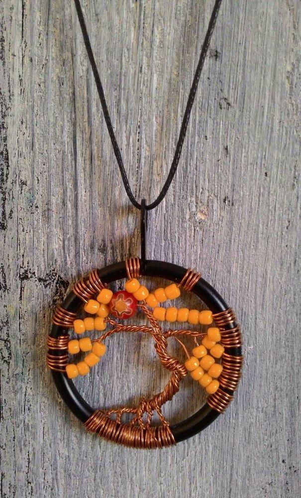 TREE OF LIFE - Collana colore GIALLO lavorazione artigianale - ciondolo cm 4