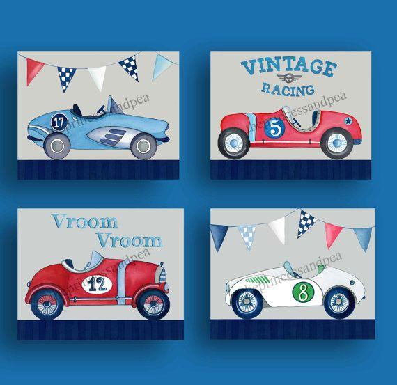 vintage race car art race cars nursery art by theprincessandpea