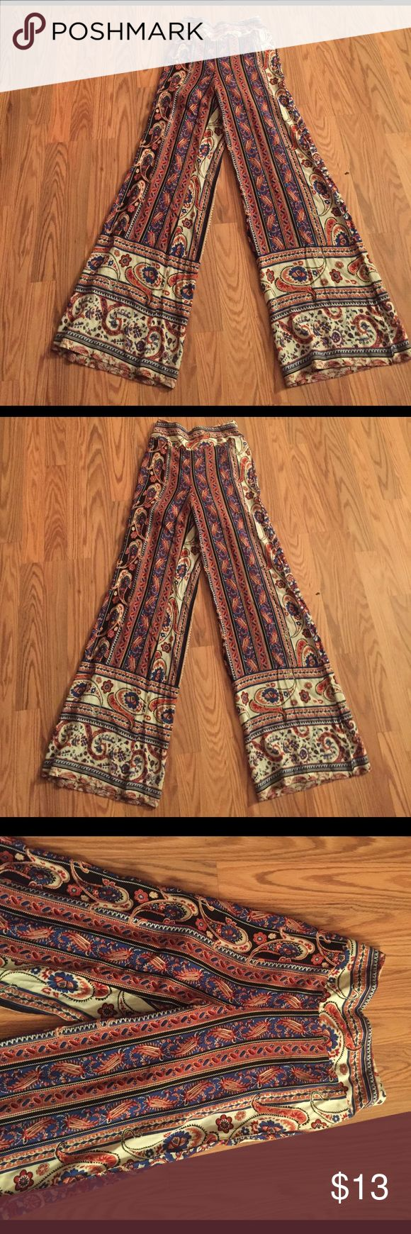 Ladies paisley lounge pants size small Great condition paisley printed lounge trousers wide leg bottom cute and cozy lined around mid section for discretion Pants Wide Leg