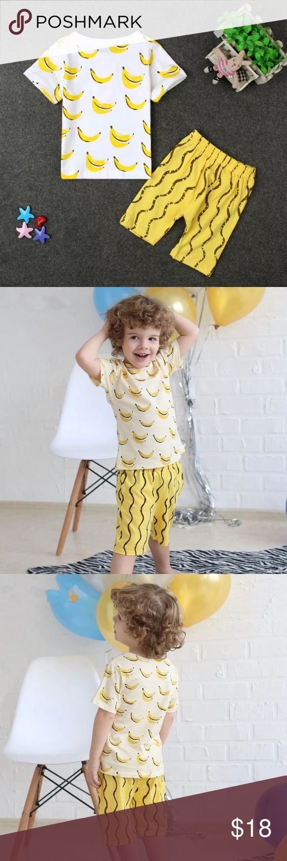 Banana Pattern Shorts & T-shirt Set Cute gender-neutral pattern on this 100% cotton t-shirt and shorts set. Size 6-7y Matching Sets
