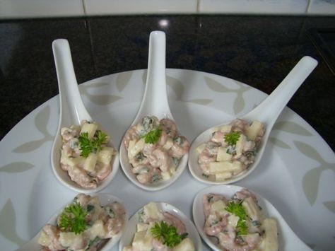Lepelhapje met garnalen en appel, Recepten - Voorgerechten & hapjes, Gette.org