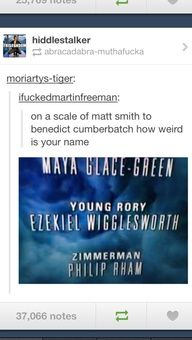 On a scale of Matt Smith to Benedict Cumberbatch..>> Wigglesworth