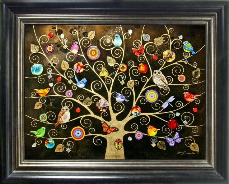 Tree Of Life - Gold by Kerry Darlington  #art #artist #resin #littleacorns #fantasy #decorative #interiors #wow #framing #black #gold #trees #birds #butterflies #owls