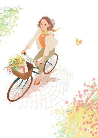 Chisato Saka bicycle illustration イラスト制作のアスタリスク