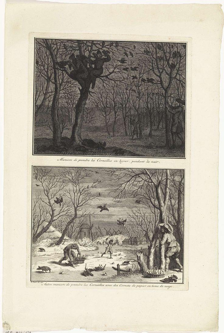anoniem | Manieren om kraaien te vangen in de winter, workshop of Bernard Picart, 1730 | Twee voorstellingen op een blad. Boven: Mannen in donkere pakken vangen 's nachts kraaien in de bomen. Onder: Het vangen van kraaien met papieren hoorntjes in de sneeuw.