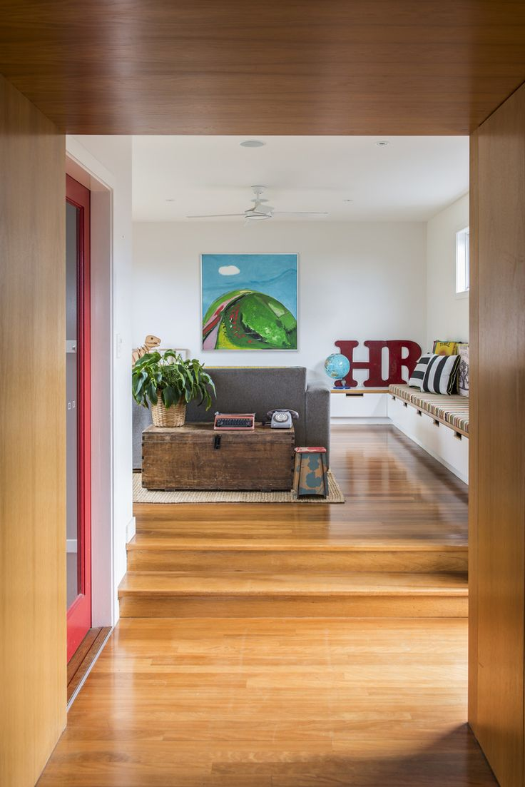 doorway between old and new, simple joinery, space separation, timber ceiling, threshold, red door, bench seat Album photos - CG Design Studio - Bookmarc