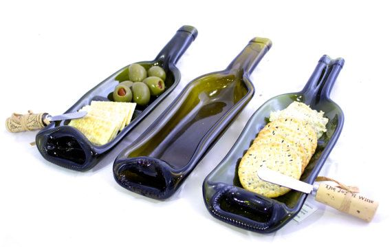 Melted Wine Bottle Glass Serving Dish - 3 Different Styles - Kiln Fused Recycled Glass - Buy Two Get One FREE