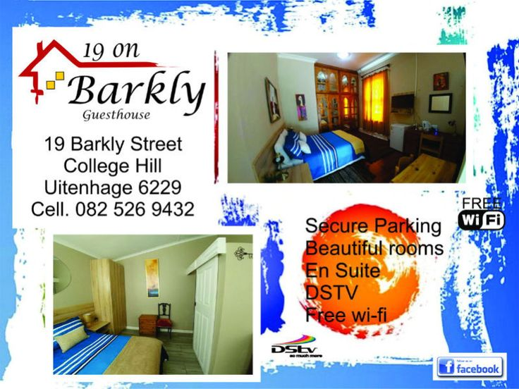 Guesthouse - 19 on Barkly GuesthouseSituated at no 19 Barkly Street, College Hill, Uitenhage - The garden town of the Eastern Cape. We offer you the best accommodation option for business or private use. Free wi-fi, secure parking, mini fridge and kitchenette in every room, DSTV and a beautiful rustic environment.Call our dedicated bookings office on 082 526 9432 today.